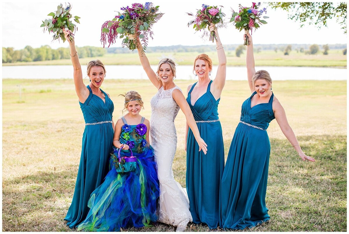 Houston Day of Wedding Coordination for Peacock Inspired Wedding Party Portraits at Emery's Buffalo Creek- J Richter Events_0005