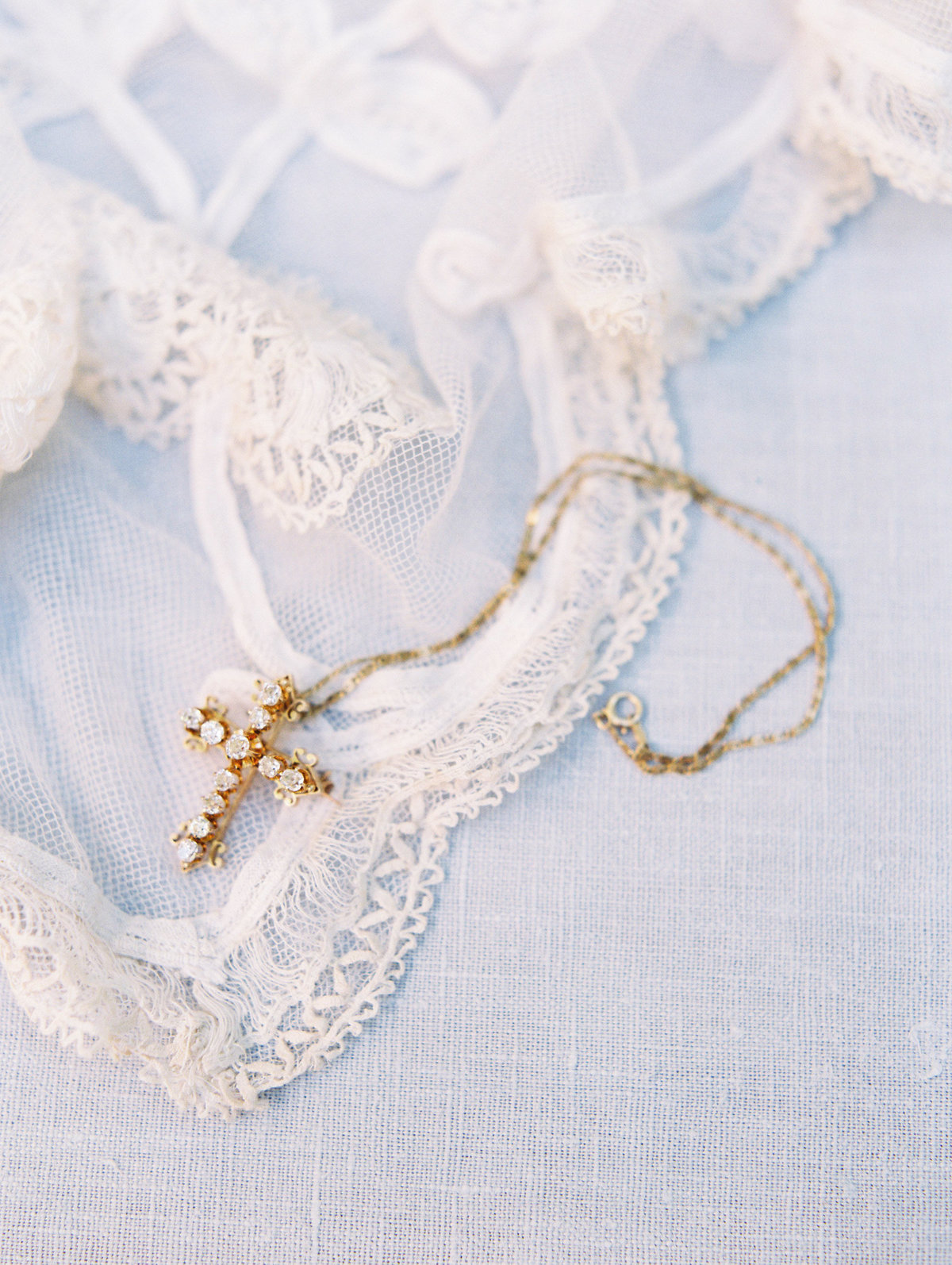 heirloom necklace and wedding veil