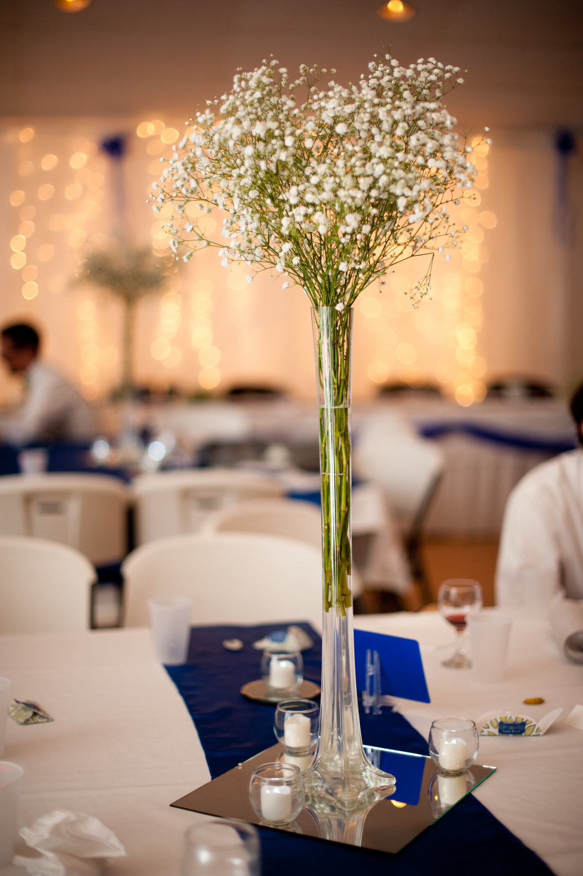 flowers on table at wedding reception