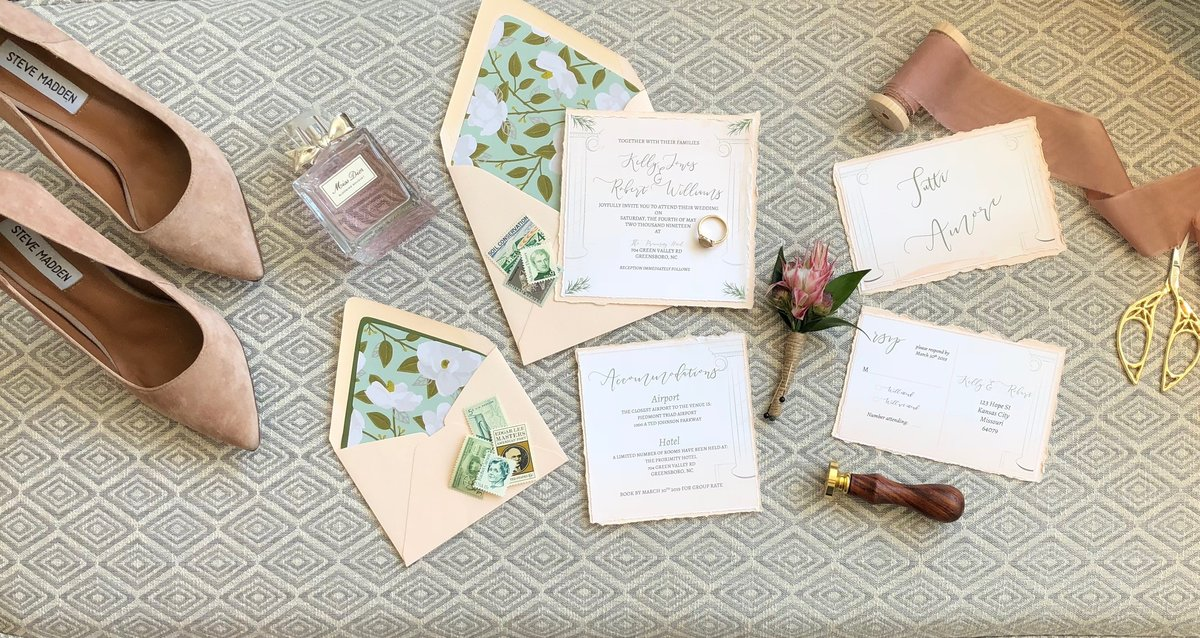 Hand deckled invitation suite