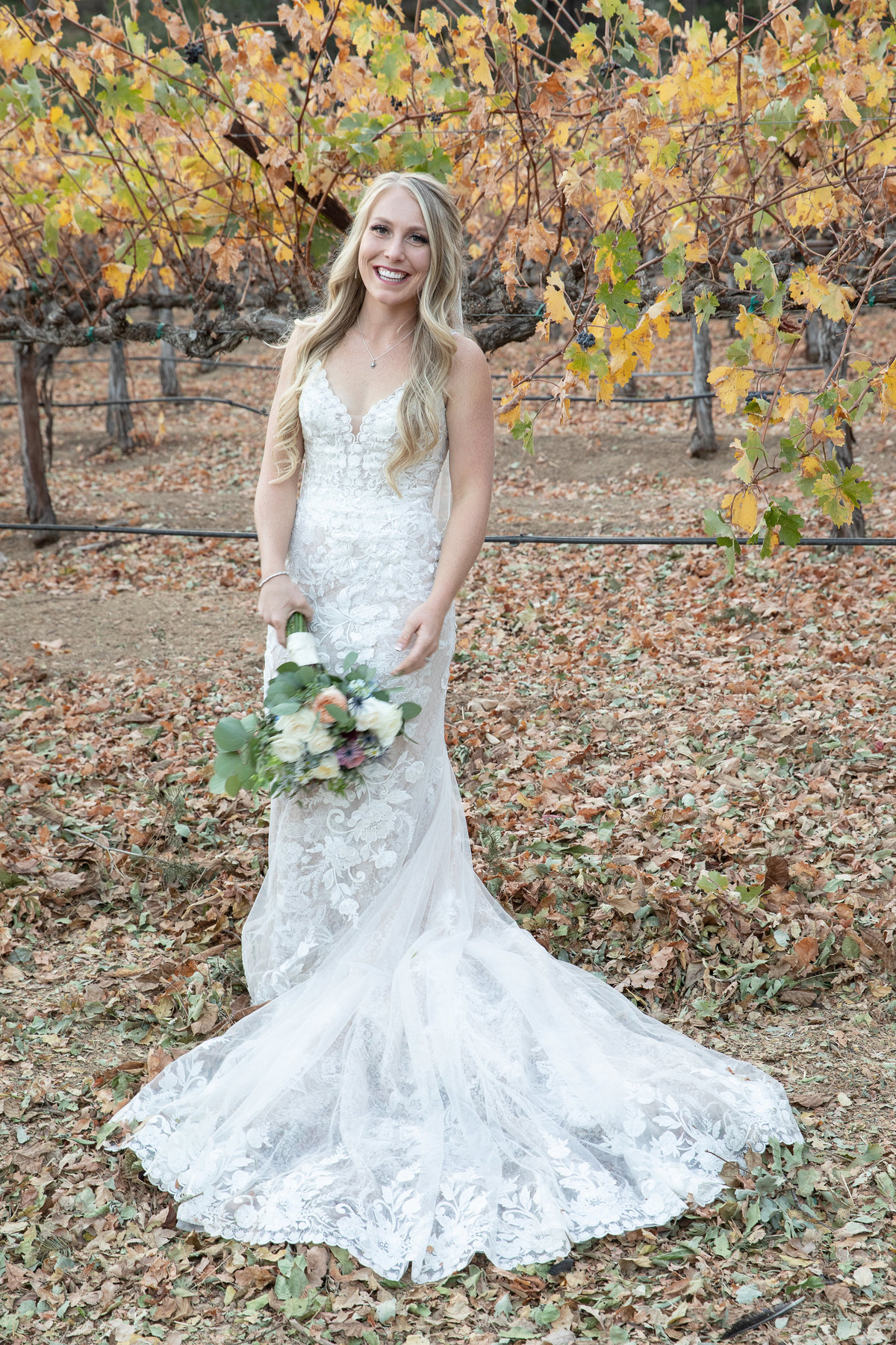 bride in vineyards