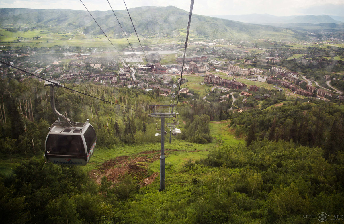 Gondola Ride on a Pretty Summer Wedding Day in Steamboat Springs Colorado