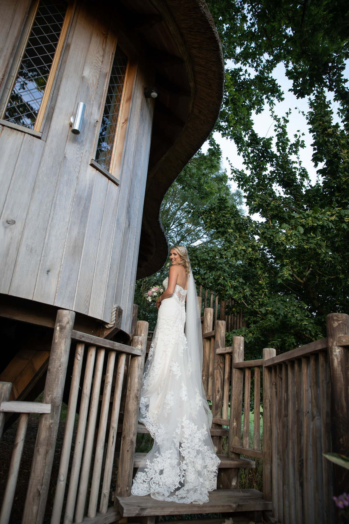 Bride at Treehouse at Deer Park Country House Hotel Wedding in Devon_