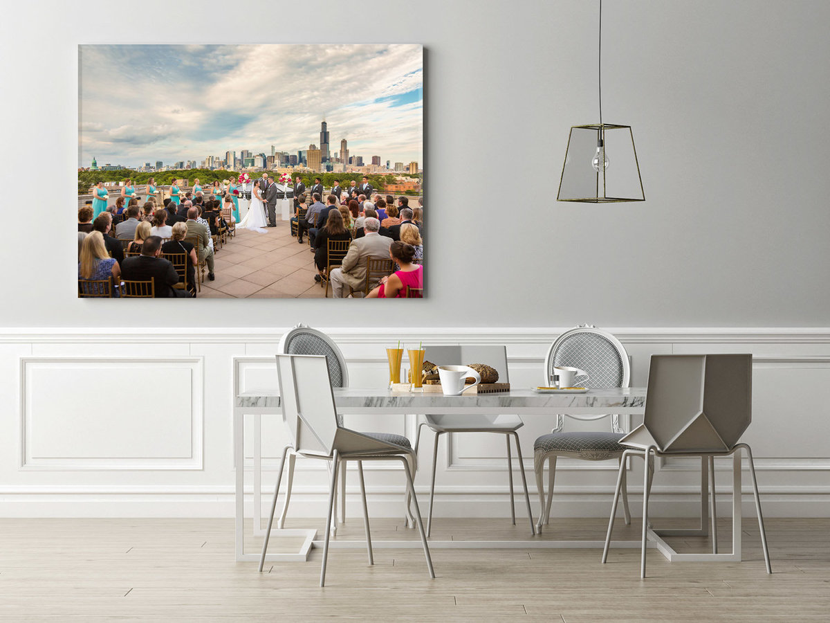 Canvas print next to a breakfast table.