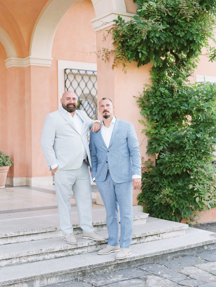 two grooms at their rome destination wedding