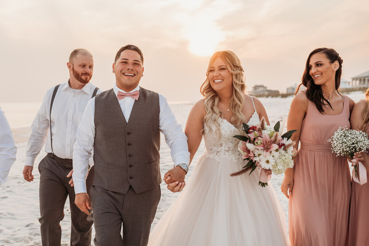Wedding party photos during sunset
