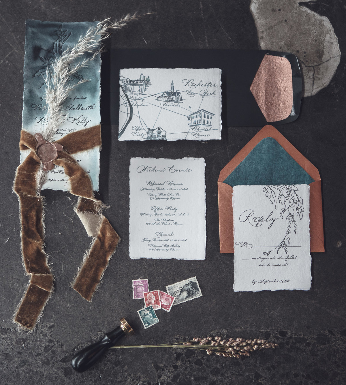 Edgy Wedding Stationery - Fall Wedding Inspiration - Rochester, NY - Verve Event Co