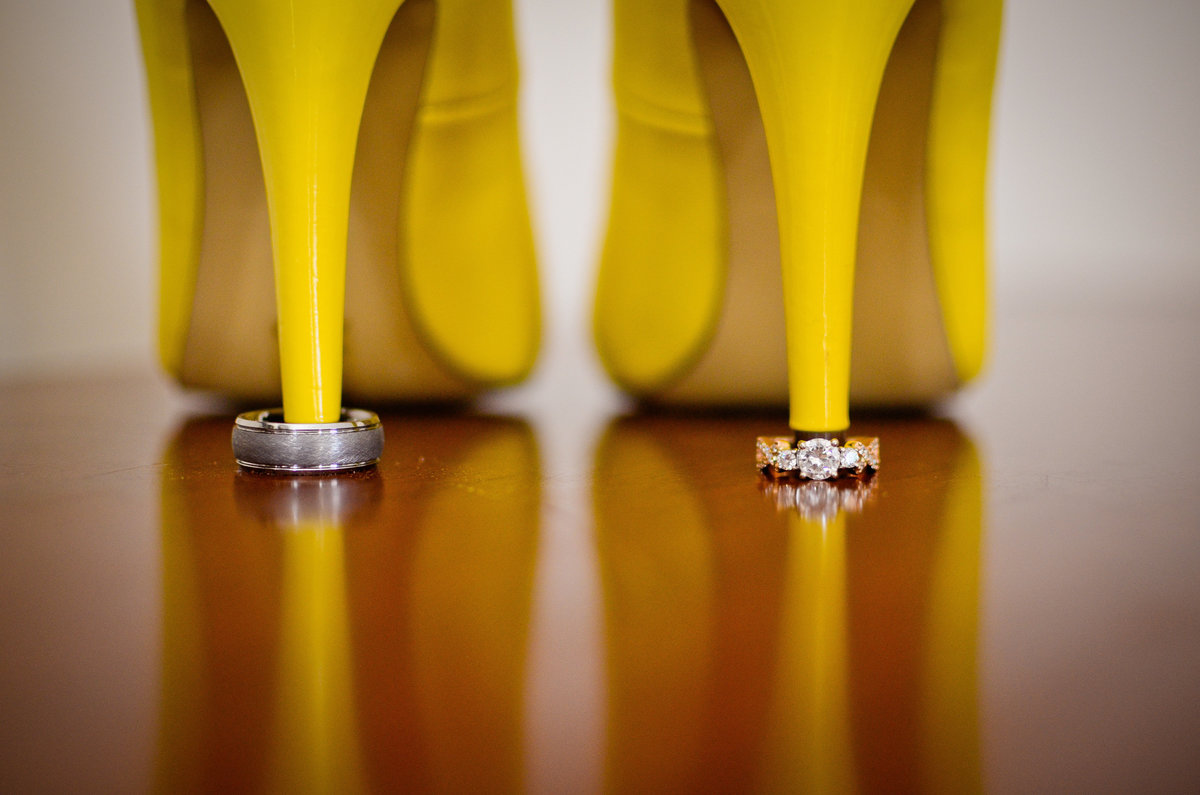 wedding heels and ring shot