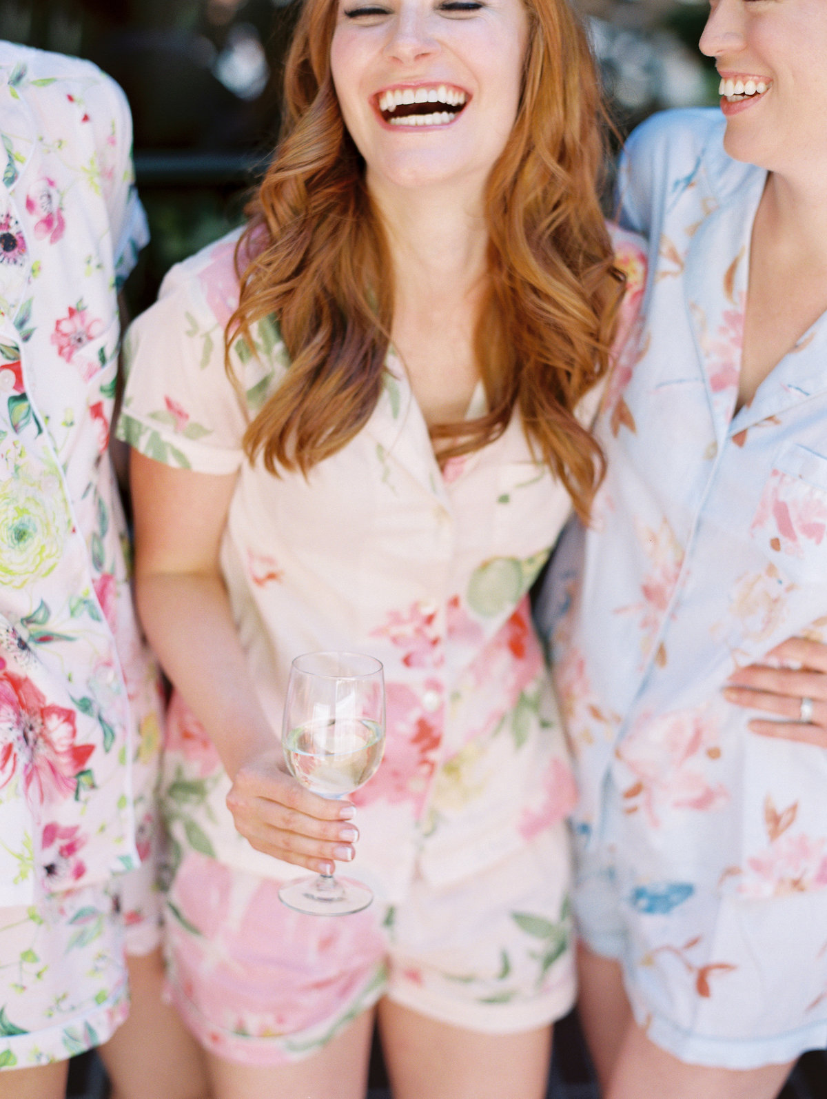 a bride wearing plum pretty sugar pajamas on her wedding day