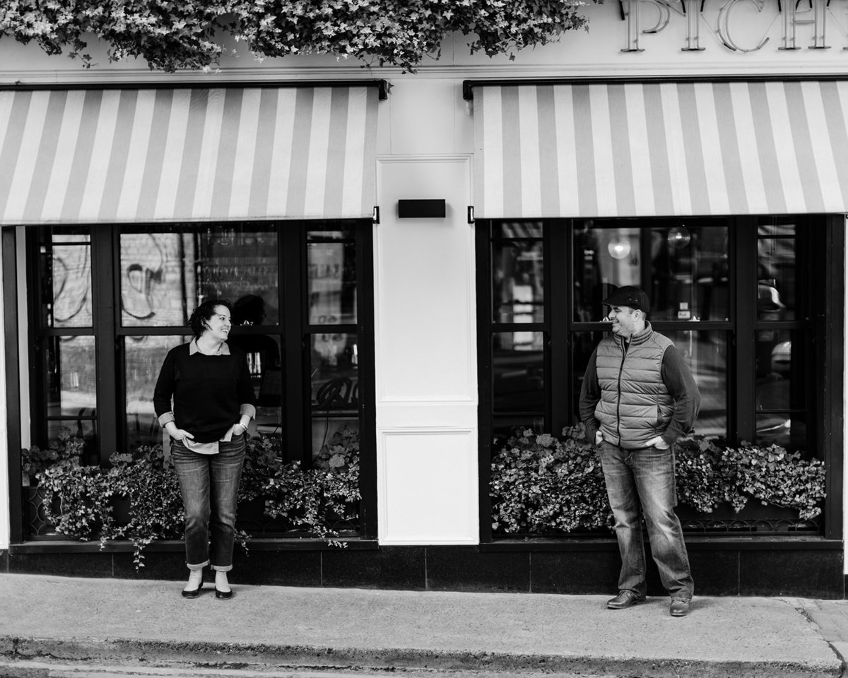 Matt and Teri Mead standing outside a restaurant in Dublin Ireland