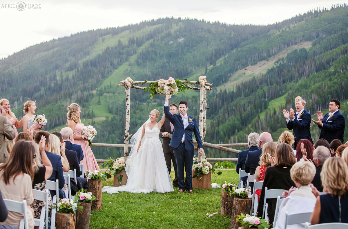 Happy ceremony celebration on the mountain in Steamboat Springs