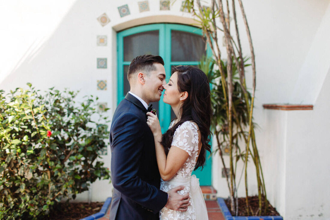 Bride & groom kiss after their Adamson House wedding ceremony in Malibu, Ca.