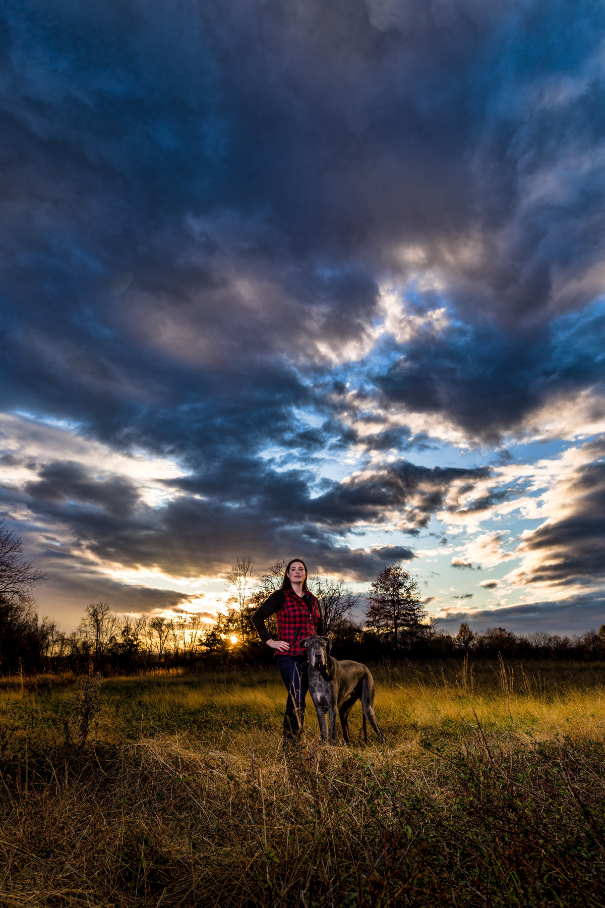 great dane and owner with sunset