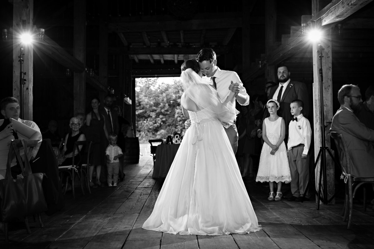 The newlyweds dance their first dance at the reception at Shady Lane Farm in Maine