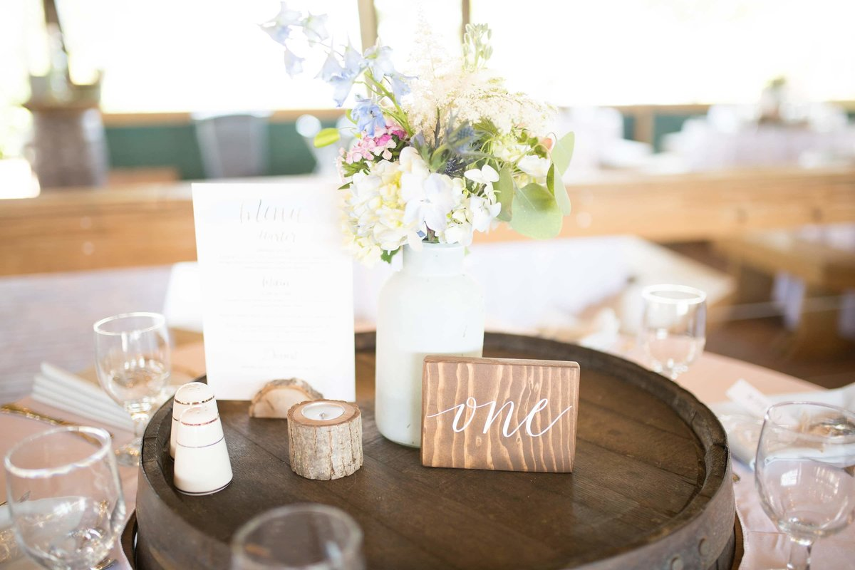 wedding table number calligraphy