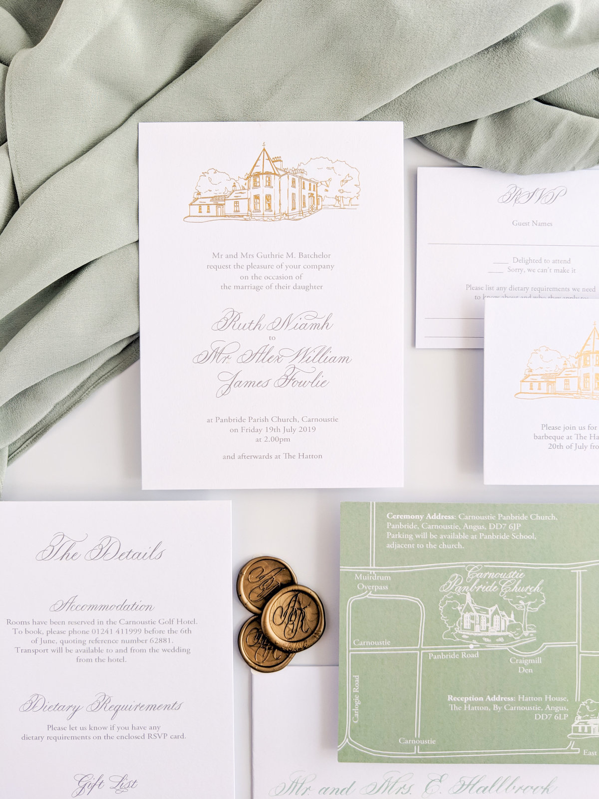 Custom gold foil venue invitations | Jenni Liandu Calligraphy