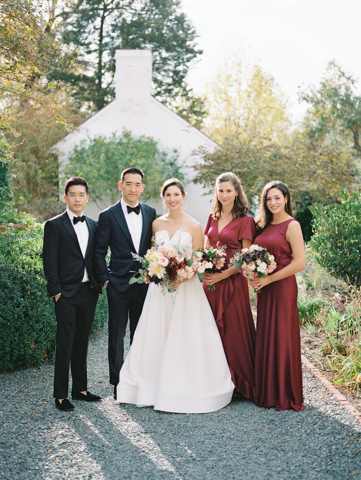 Bridal Party Photos Red Bridesmaids Dresses Robert Aveau for © Bonnie Sen Photography