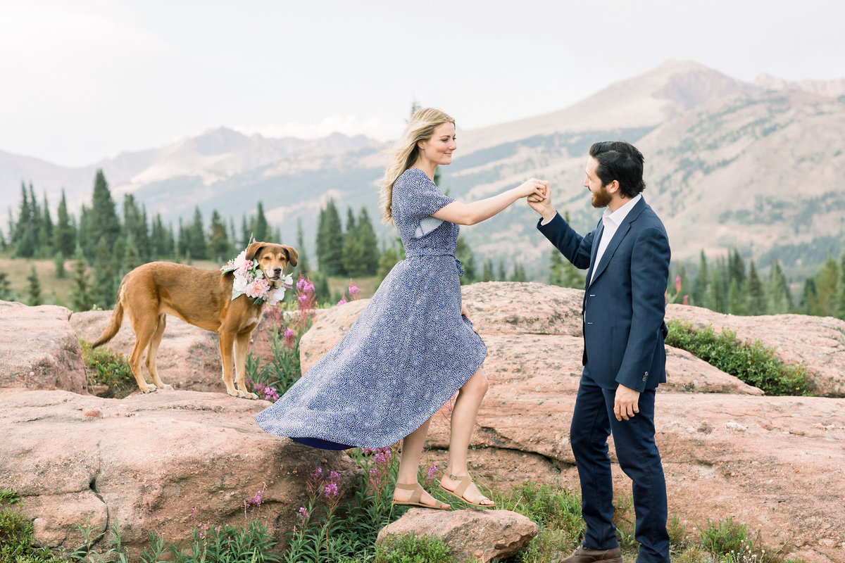 Couple with their dog during engagement session