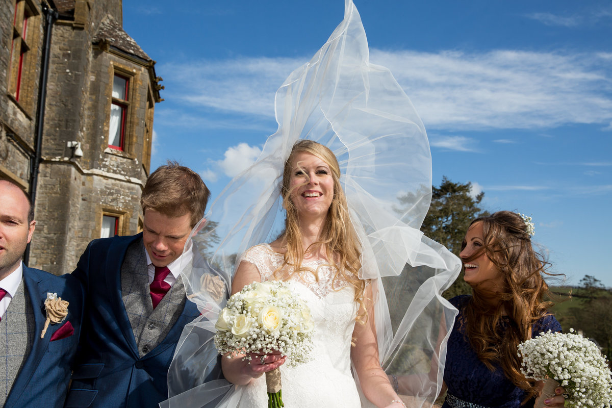 early spring wedding at huntsham court