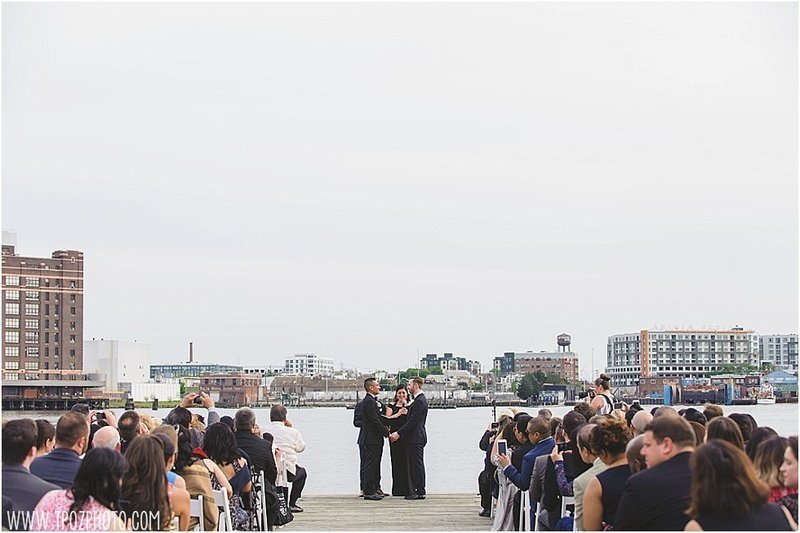 Same-sex wedding ceremony  at the Frederick Douglass Maritime Museum in Baltimore