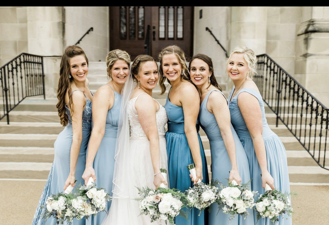Mismatching blue  bridal party dresses was the perfect touch for our May 2019 wedding in Indianapolis, Indiana