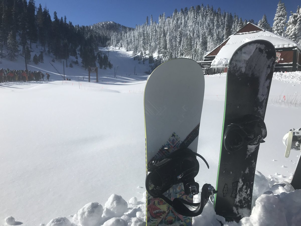 Picture of snowboard in snow