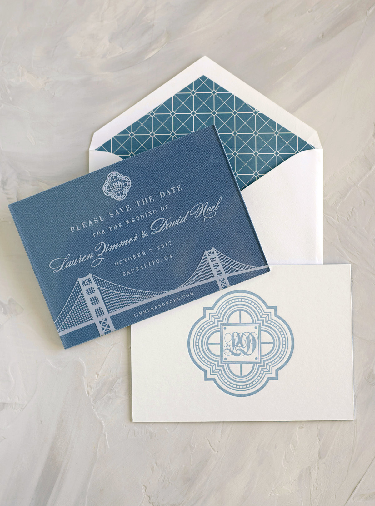 Blue and white save the date for Cavallo Point Wedding by Jenny Schneider Events.