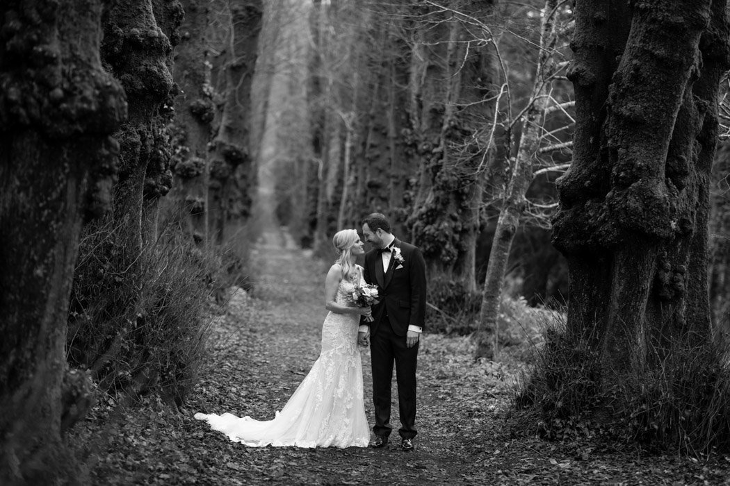 Black and white of couple on thier wedding day at Pentillie Castle