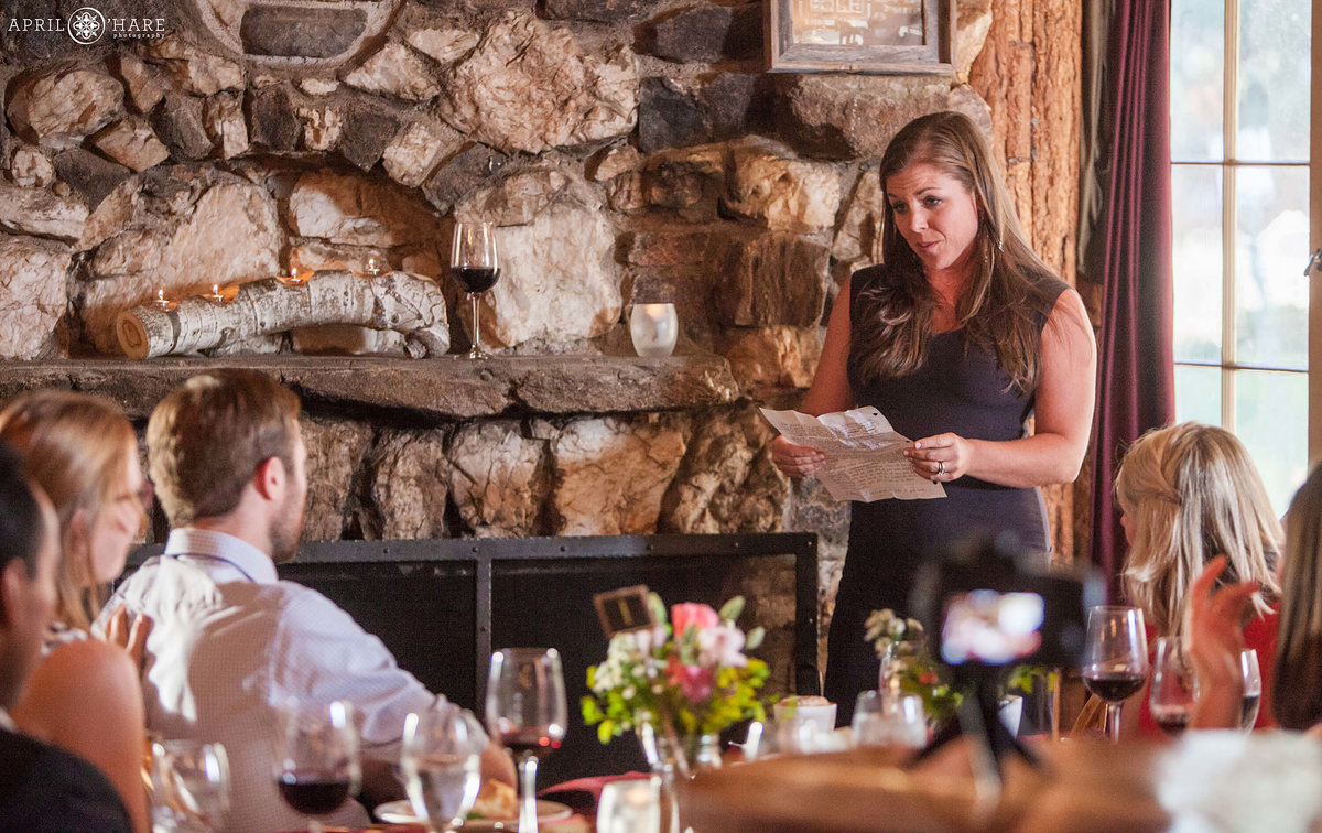 Rehearsal Dinner Speech at the Bistro at Evergreen in Colorado