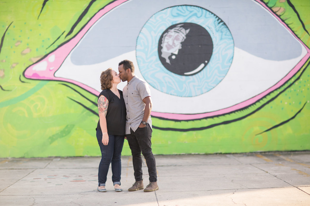 couple portraits at Norfolk NEON district