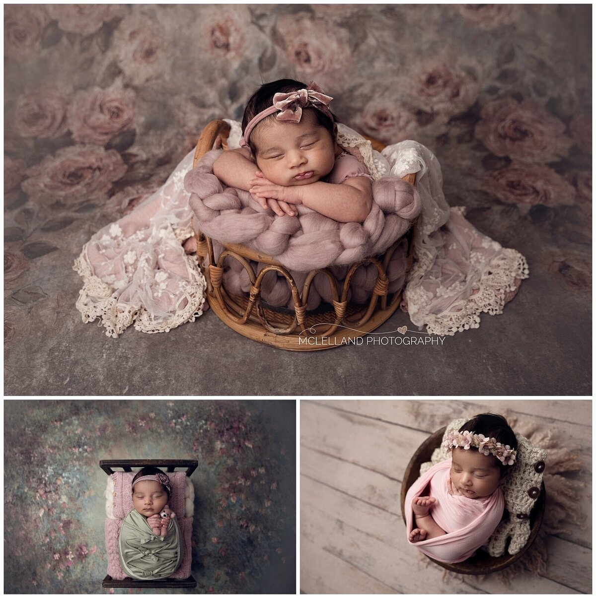 Baby girl at her newborn session with McLelland Photography