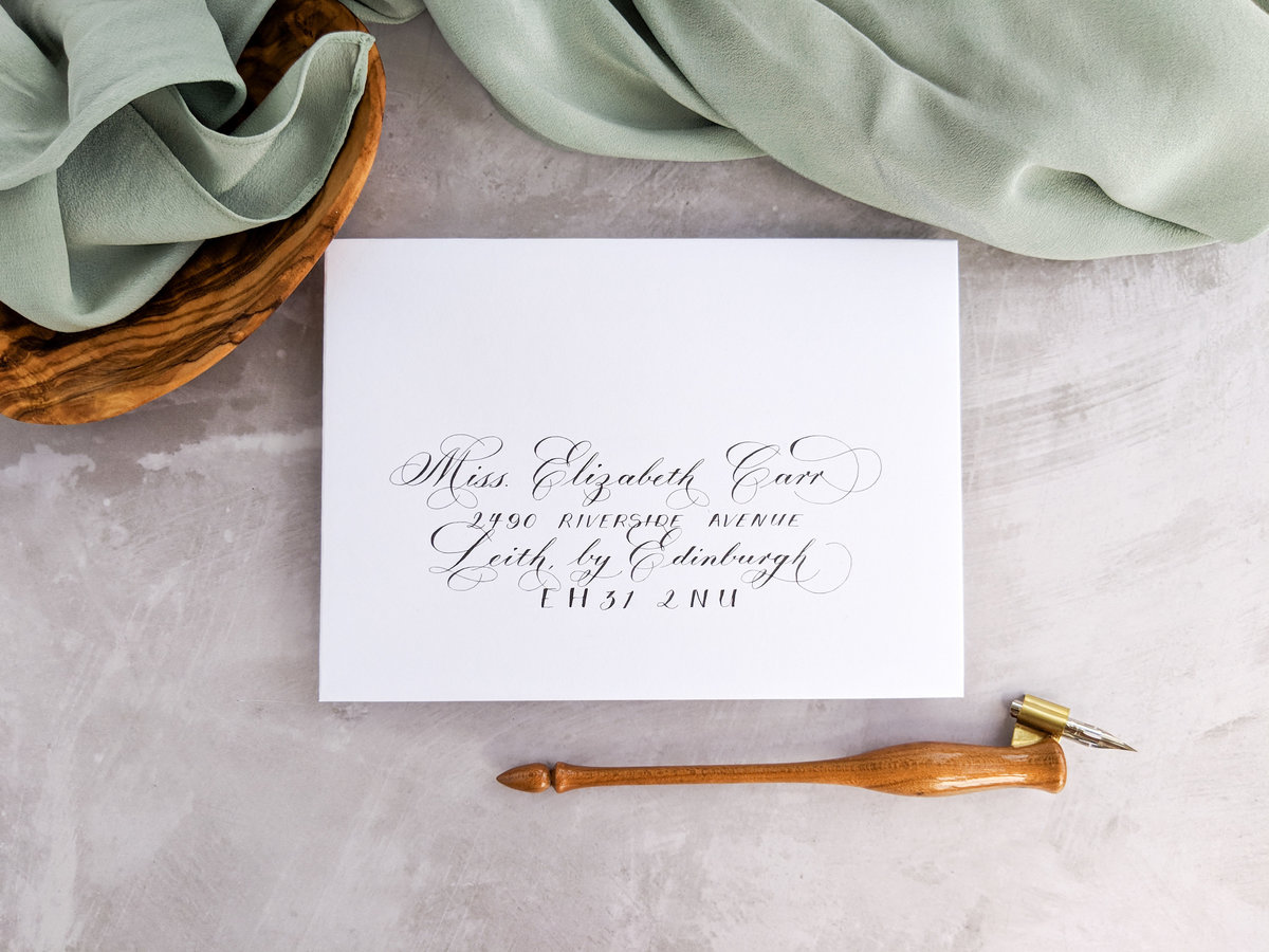 Copperplate envelope calligraphy