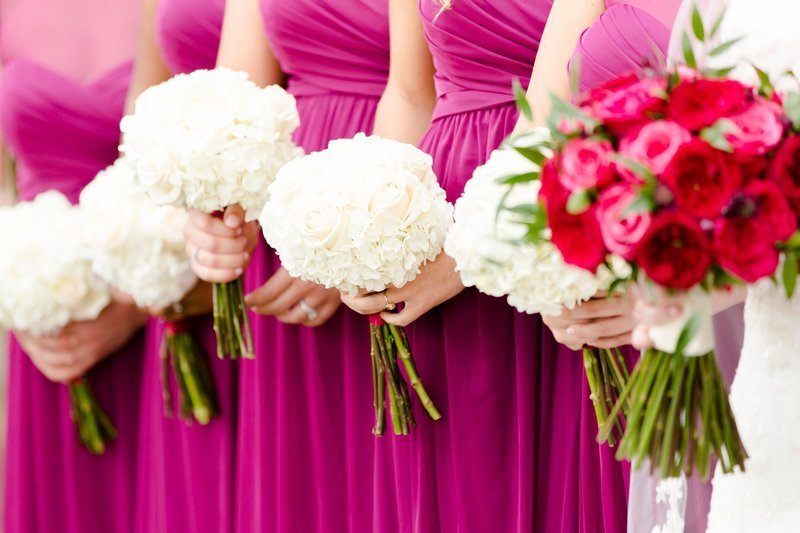 ivory bridesmaids bouquets with pink dresses at villa de amore by matty_fran_photography-wedding