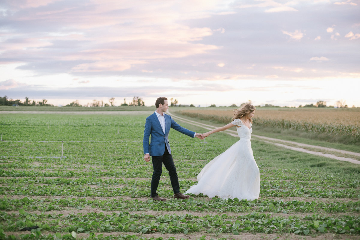 sunset natural wedding PA love open field farm rustic chic