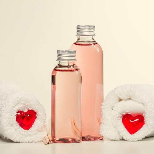 liquid soap bottles with hearts