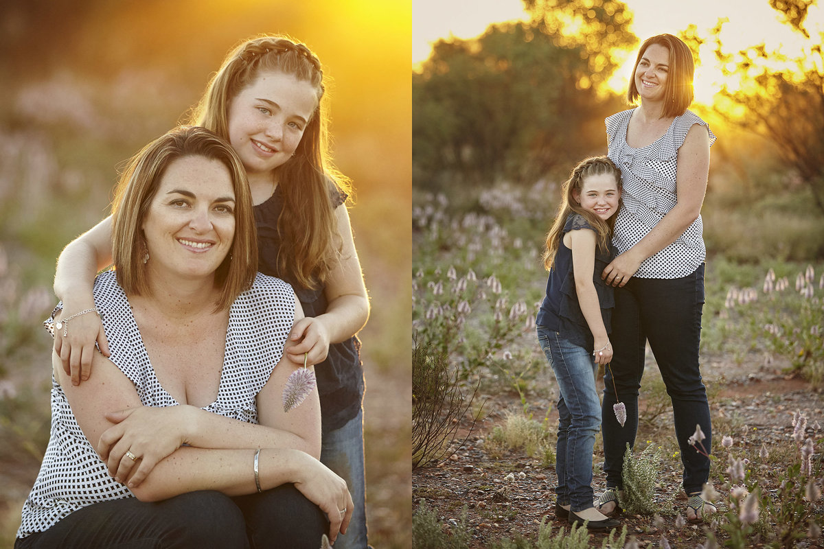 Two images of mum cuddling daughter with golden sunlight streaming through