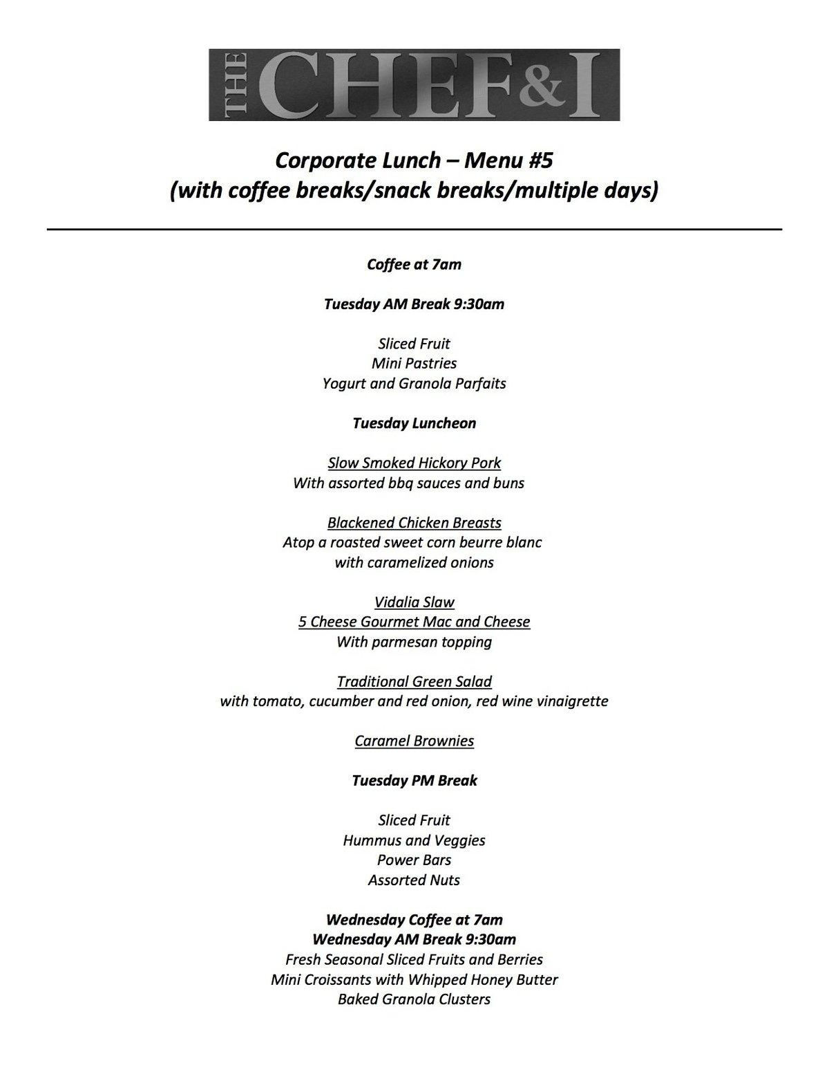 Corporate Lunch Menu 5