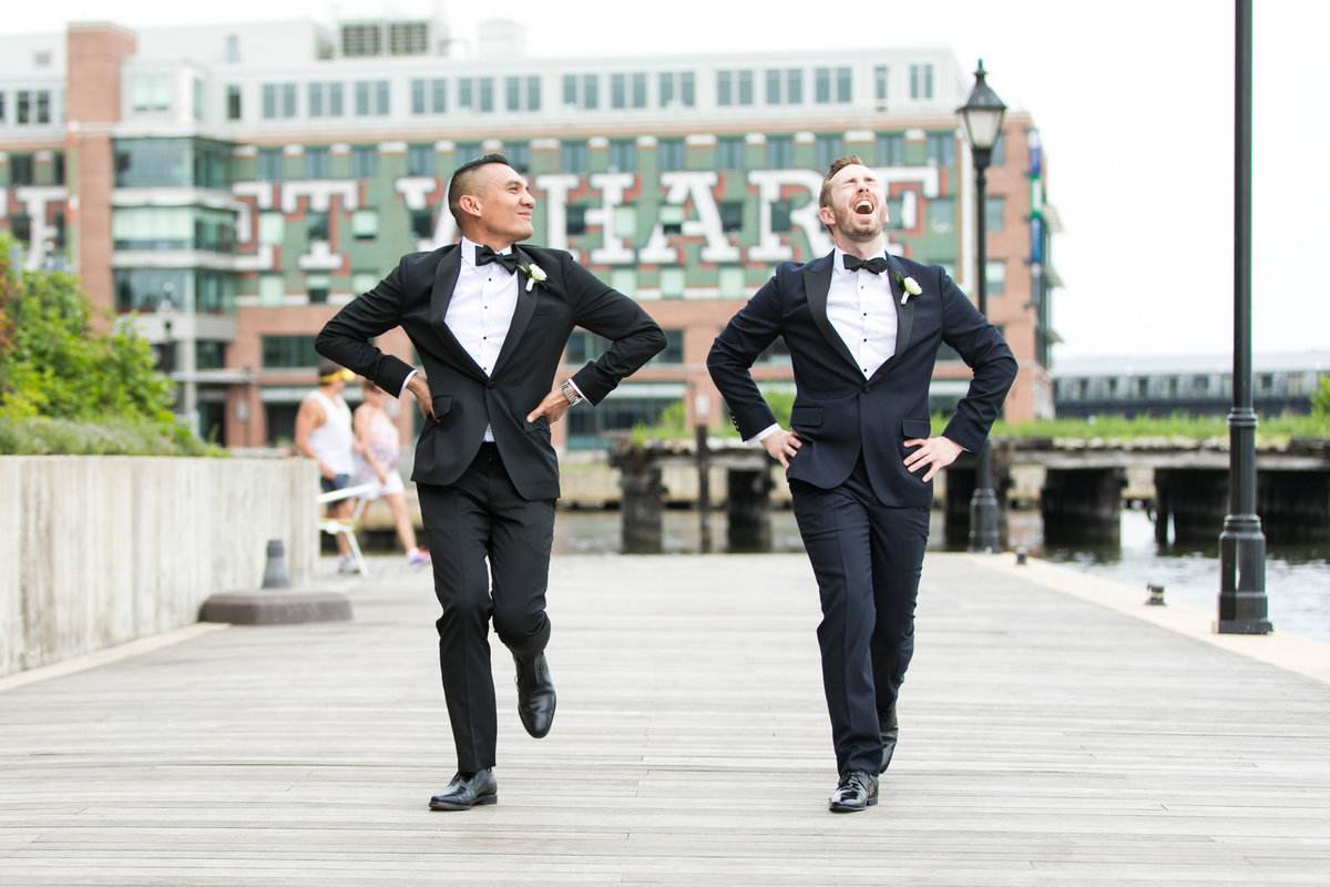 Gay Grooms in Fells Point Baltimore wedding portraits