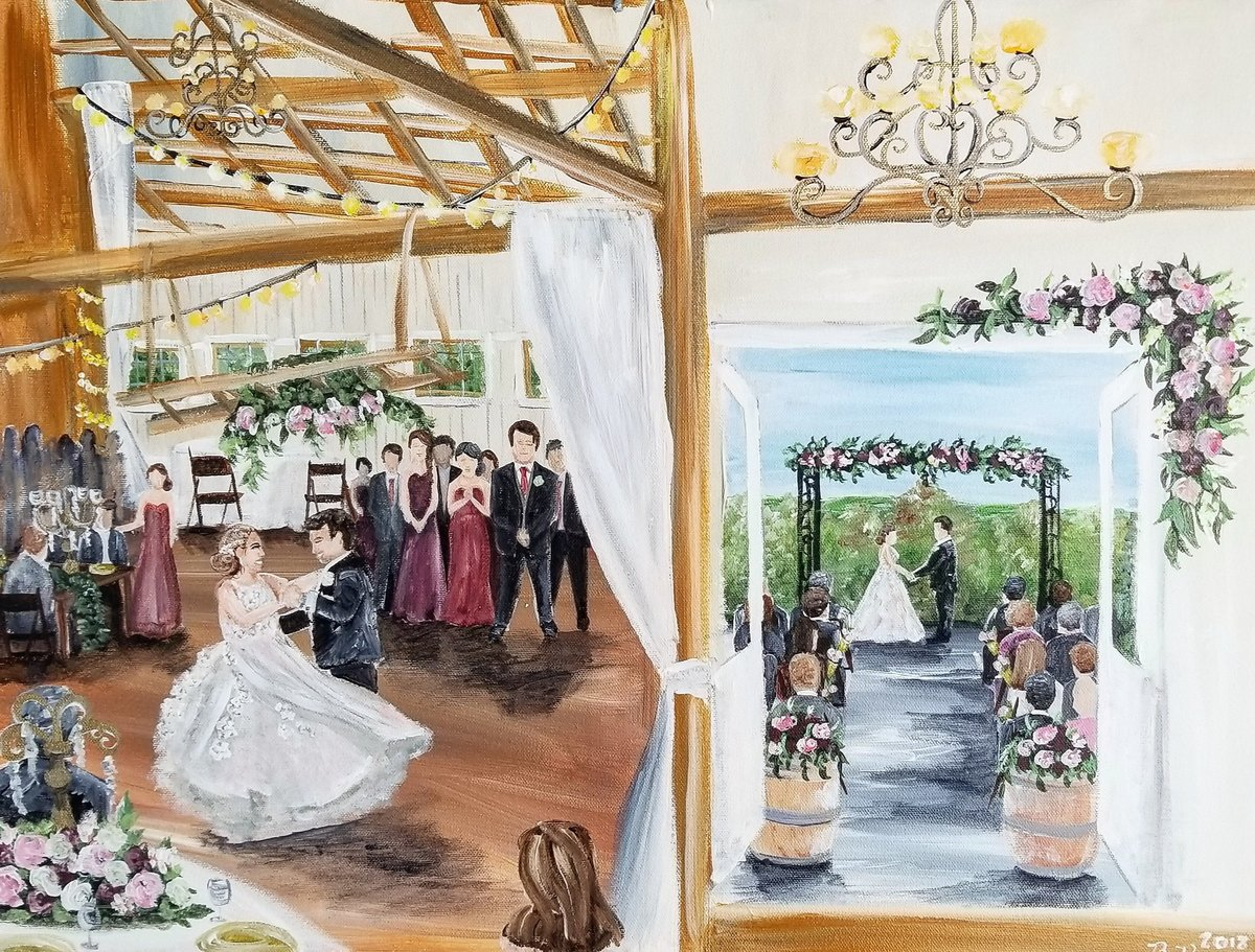 Dual wedding ceremony and first dance live wedding painting at Shadow Creek horse barn in Leesburg Virginia
