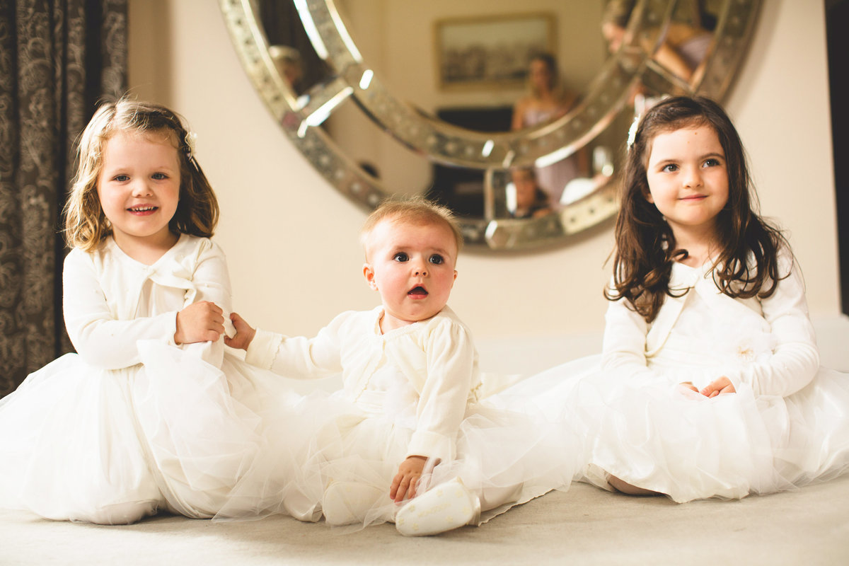 flower girls at an iscoyd park wedding