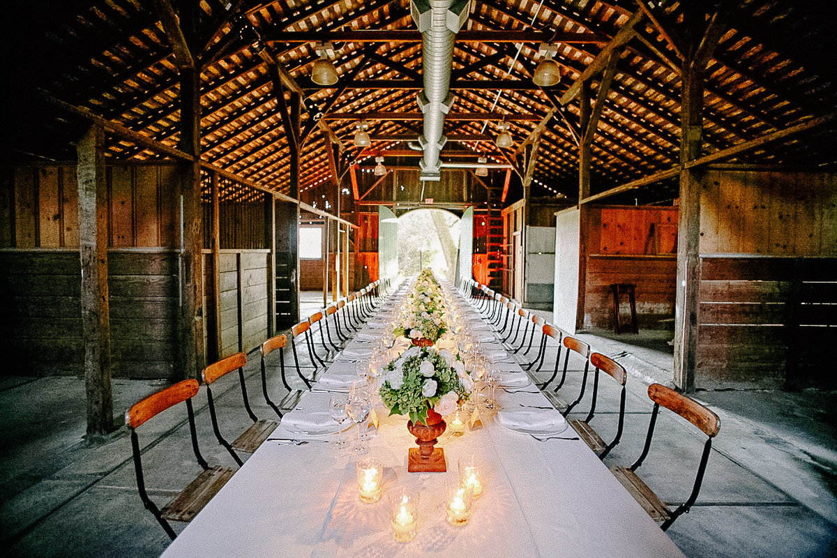 A beautiful wedding reception table at Annadel Winery in Napa