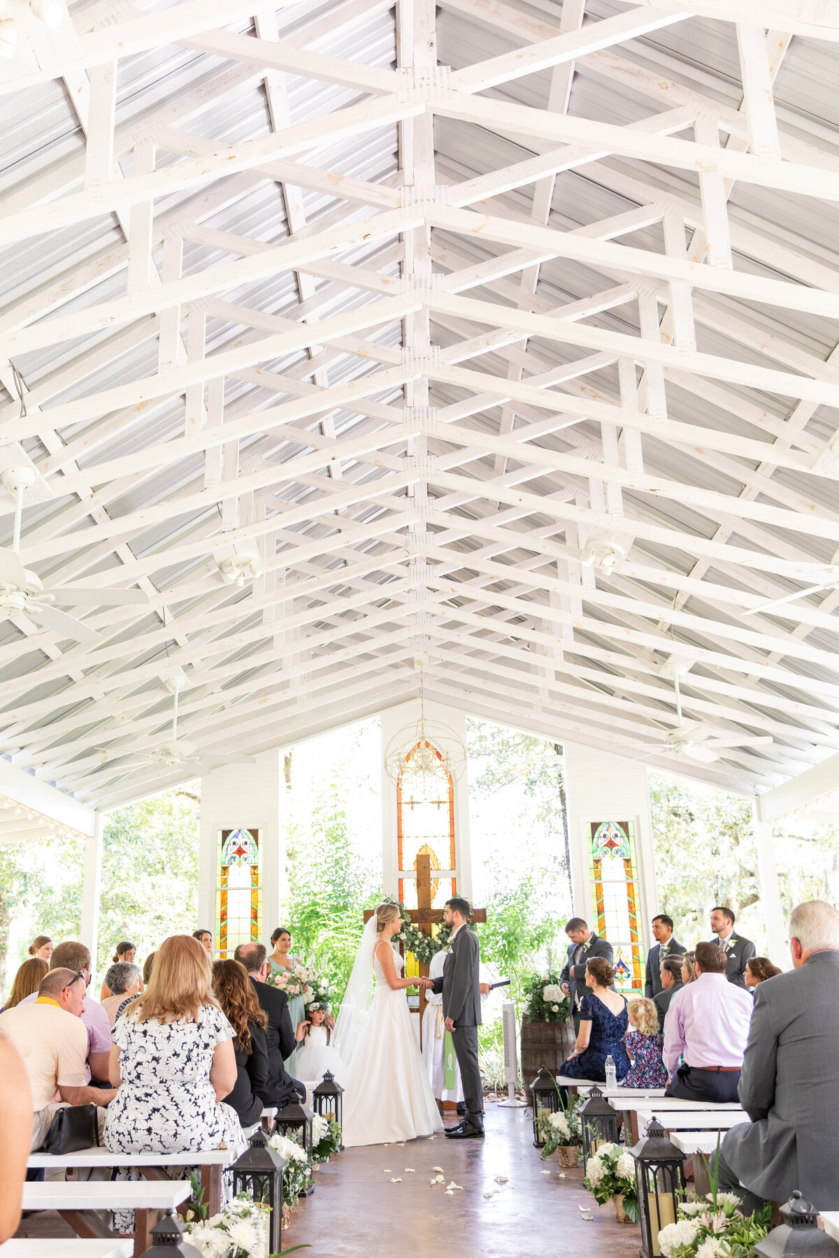 Wedding Ceremony in White Open Air Chapel in Conroe, TX