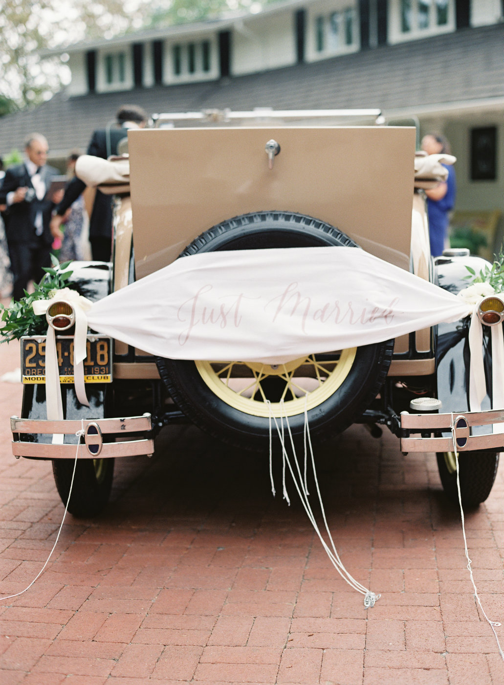 Vintage get away car at our summer tent wedding.