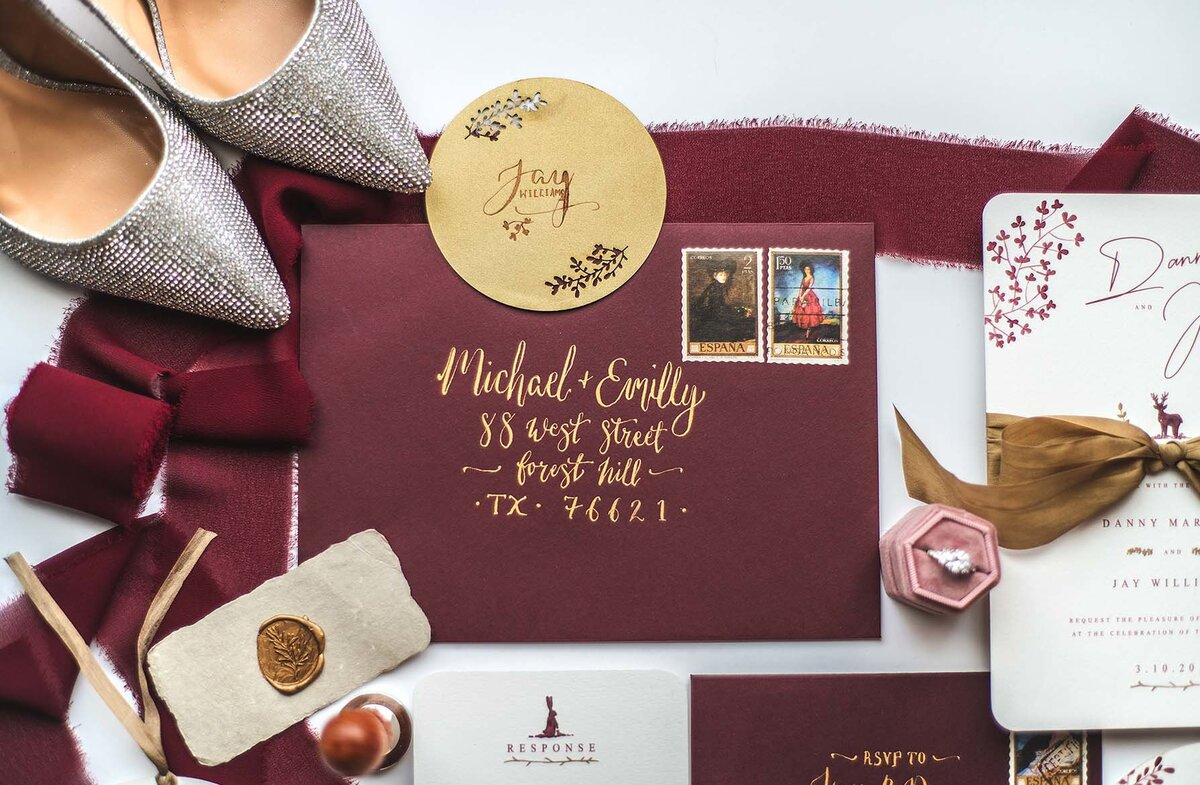 burgundy gold wedding
