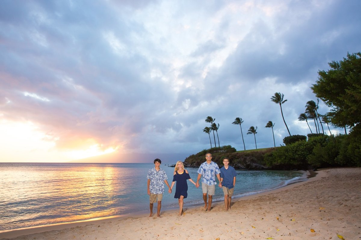 Capture Aloha Photography, Maui Family Portraits with beautiful sunrise on the beach