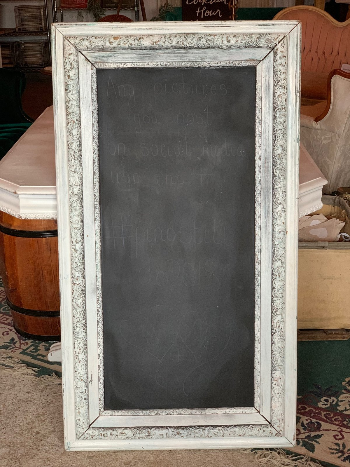 white antique framed chalkboard