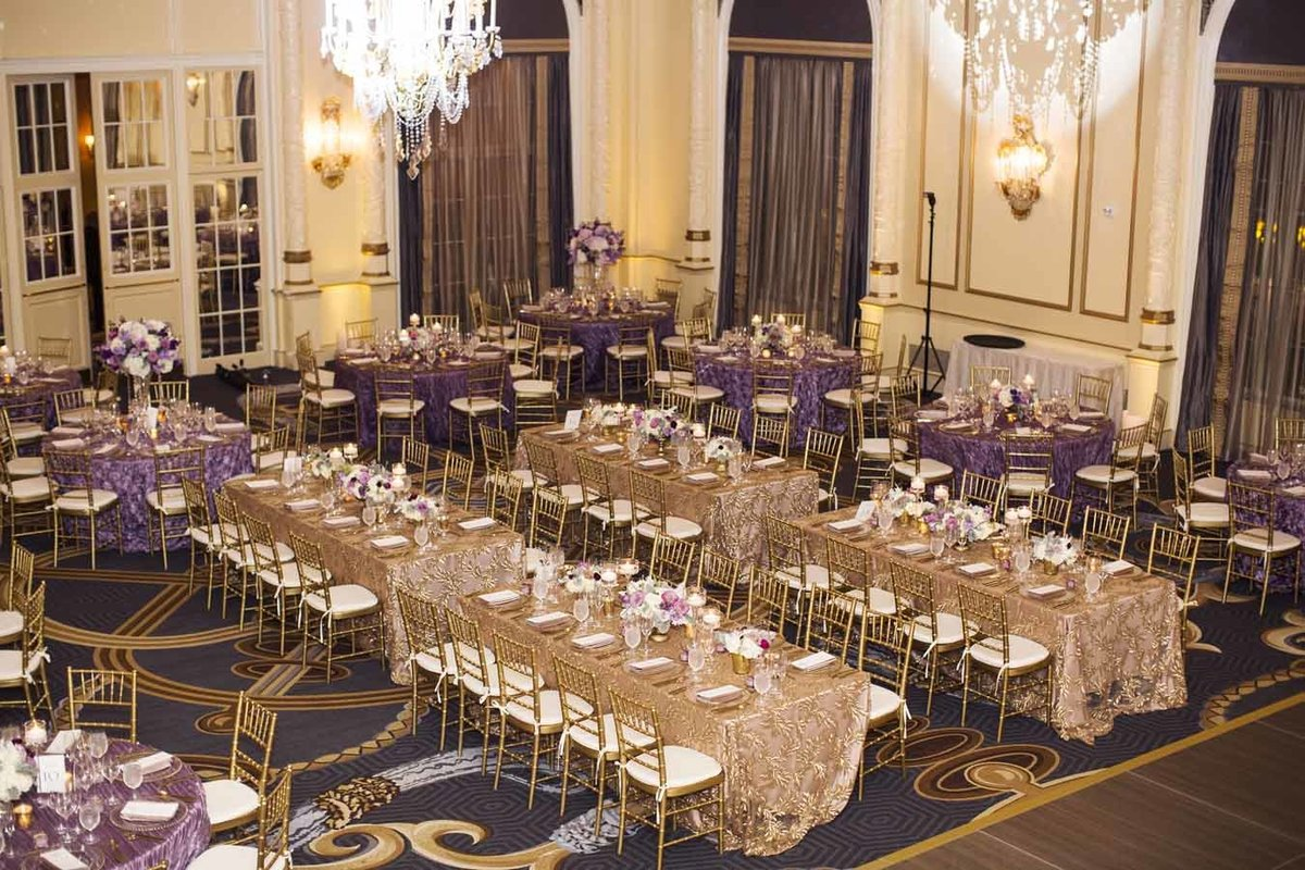 Such a lovely Purple wedding reception at the Fairmont Olympic Hotel in Seattle.