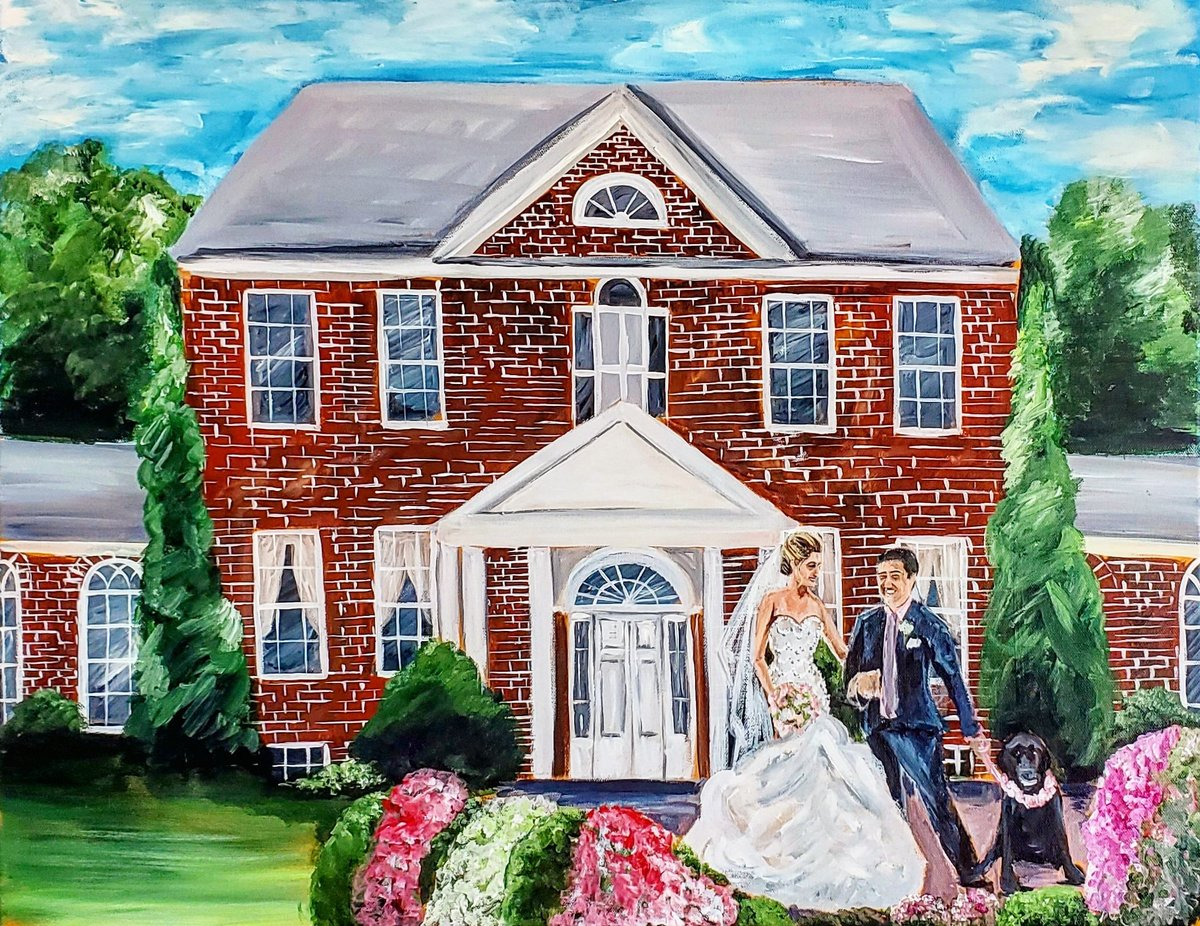 Live painting of a bride and groom standing outside the Belmont Country Club in Ashburn Virginia with their dog