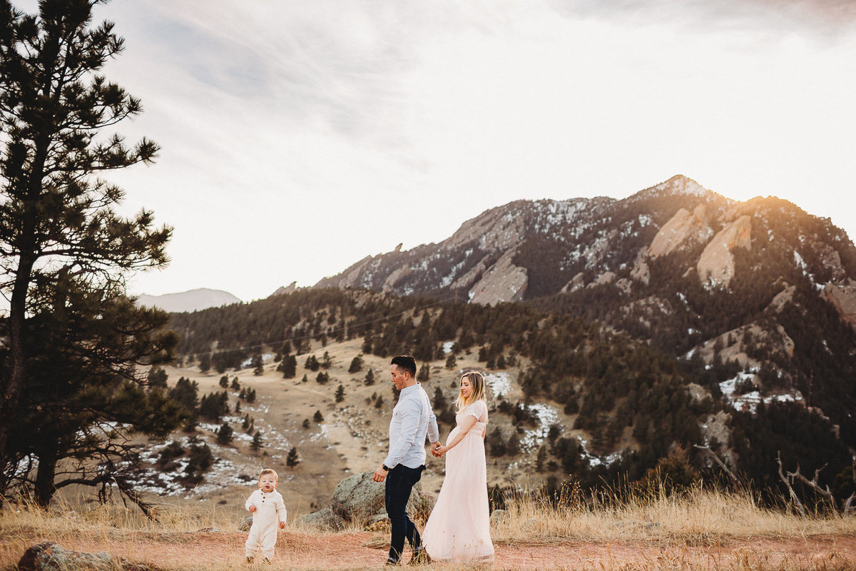 Family photo at sunset in Boulder, Colorado