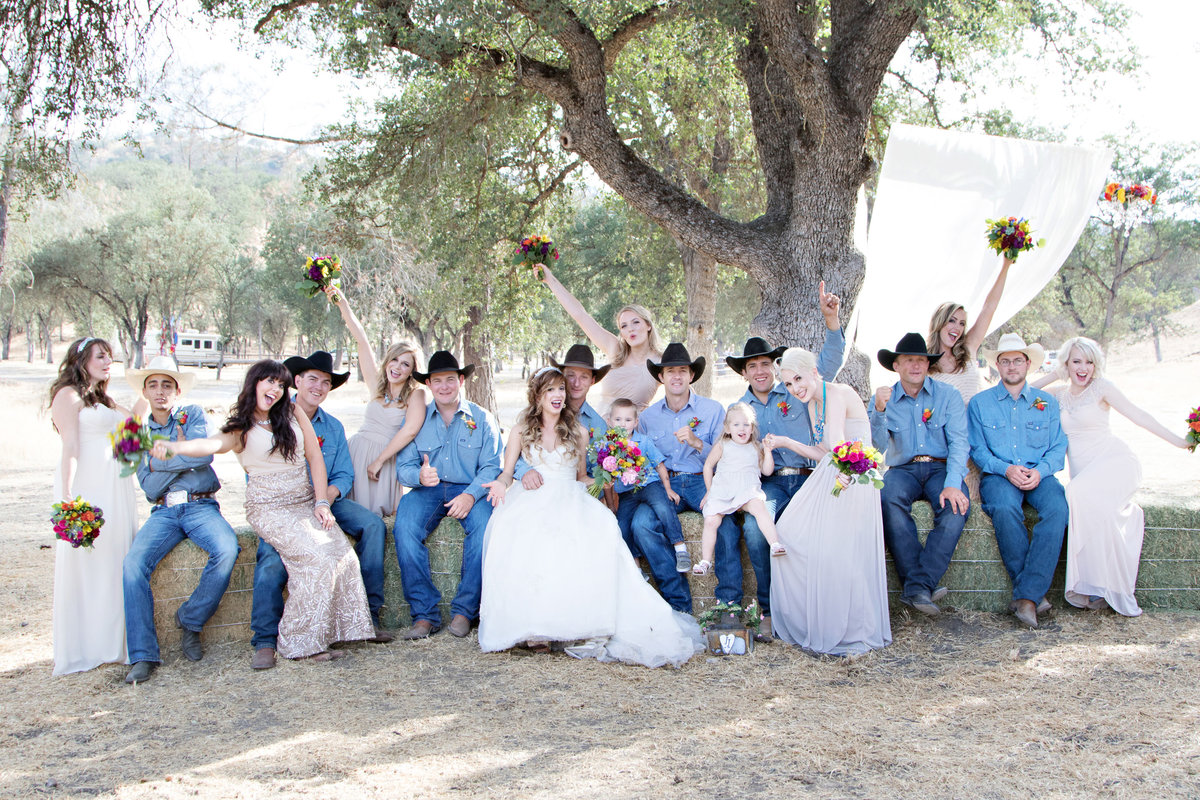 bridal party, cowboy wedding